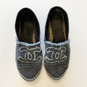 💚CHANEL denim espadrille flats 37 EU 6 US